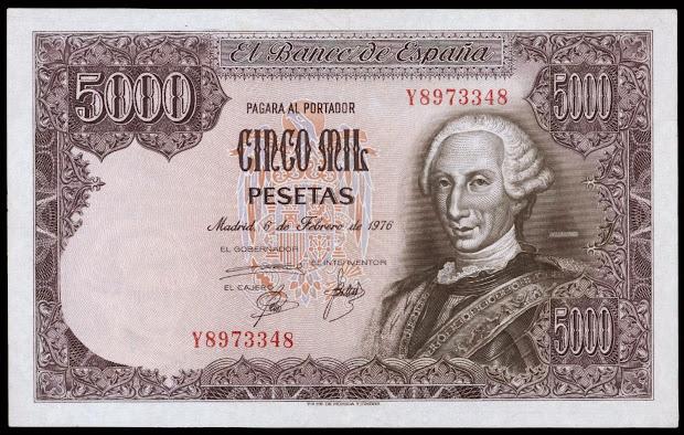 Spain 5000 Pesetas Banknote 1976 King Carlos Iii World