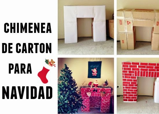 chimenea de carton, manualidades, navidad, chimeneas de carton