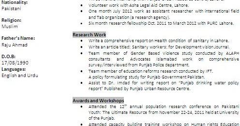 Higher Education Resume Formats