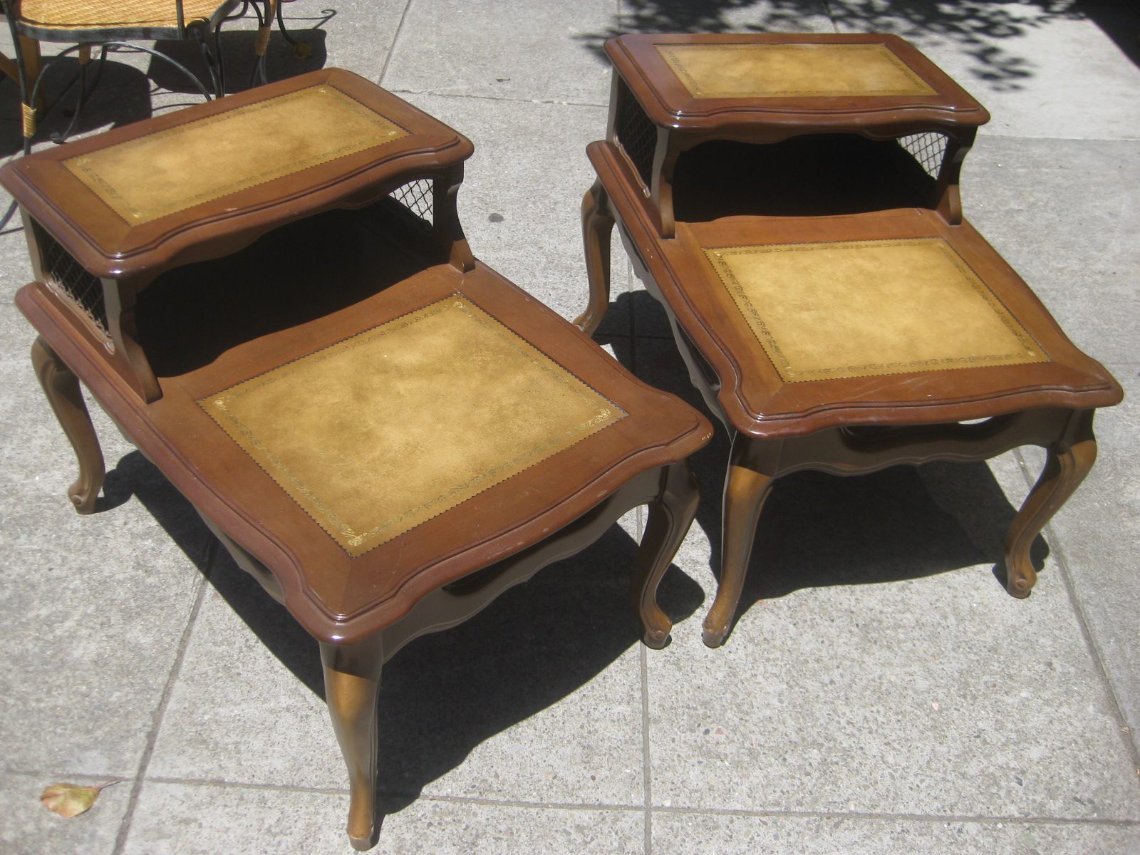 Sold Pair Of Leather Top End Tables 45