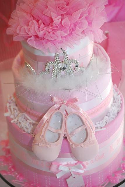 Decoração Cake  DIY para o Tema Menina Chá de Fraldas e Bebê