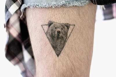 simple bear head tattoo for leg