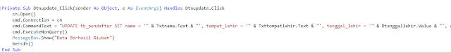 update - Membua Aplikasi Registrasi Siswa Gres Dengan Visual Studio 2012