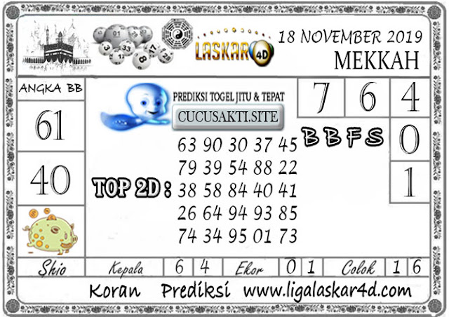 Prediksi Togel MEKKAH LASKAR4D 18 NOVEMBER 2019