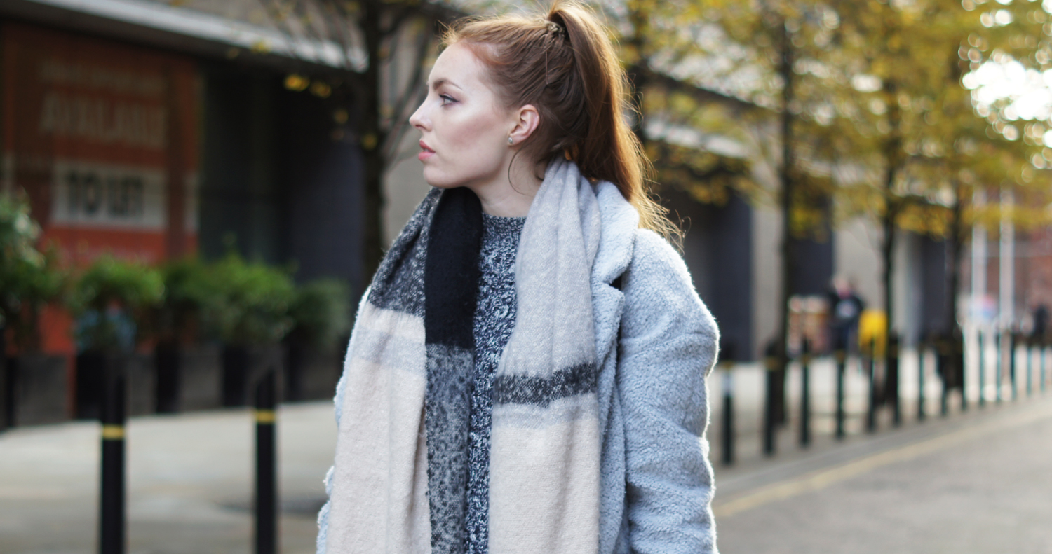 neutral knitted blanket scarf