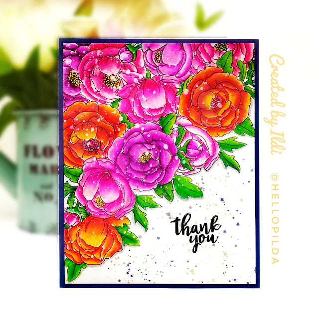 Thank You Card Duo by July Guest Designer Ildi Imrefalvi | Peony Blooms Stamp Set by Newton's Nook Designs #newtonsnook #handmade