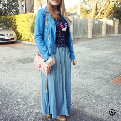 awayfromblue instagram monochrome chambray maxi skirt outfit winter