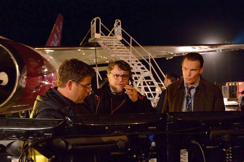 Guillermo del Toro director with Sean Astin on the airport set of FX The Strain