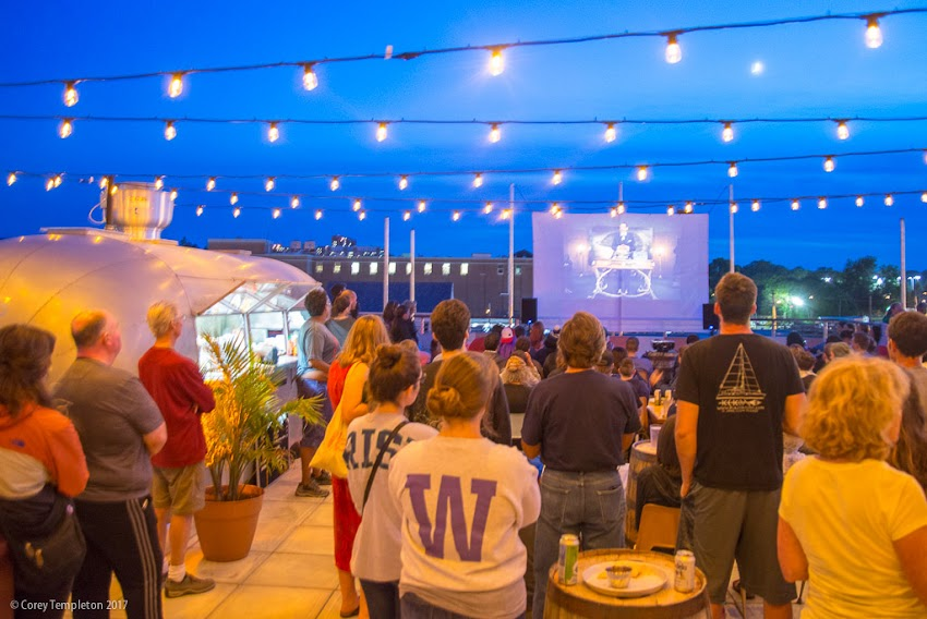 Portland, Maine USA July 2017 photo by Corey Templeton. A recent movie showing at Bayside Bowl's new rooftop deck. In addition to some nice aerial views of one of Portland's up and coming neighborhoods, the deck has a taco truck and a full bar.