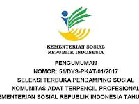 Info Seleksi Tenaga Pendamping Sosial KAT Kementerian Sosial RI 2017