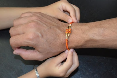 sister tie rakhi band to brother