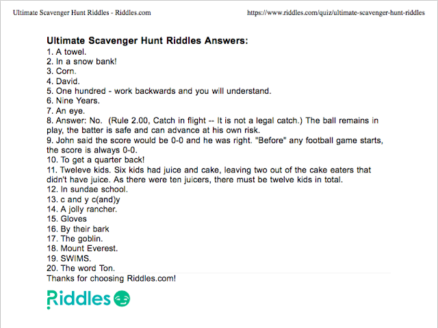 Screenshot of the riddle quiz answer worksheet