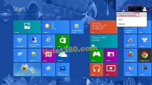 Cách cài đặt Password cho Windows 8 - mật khẩu User Admin, start Windows8