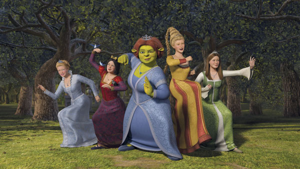 Shrek the Third (2007) Shrek ladies of the court on the attack in Shrek the Third 2007