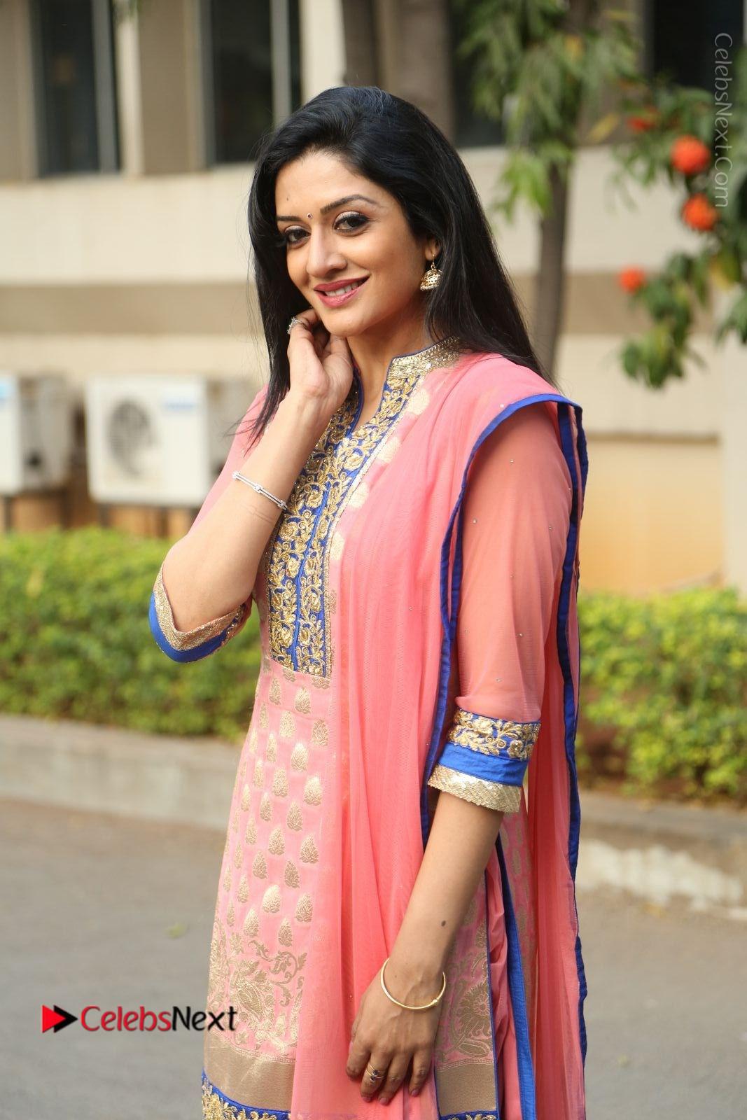 Vimala Raman Stills in Beautiful Pink Salwar Kameez at (ONV) Om Namo Venkatesaya Press Meet