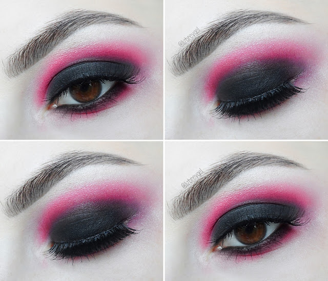 Romantic Vampire Makeup gothic dark smoky smokey Step by Step Tutorial black and pink makeup pictures
