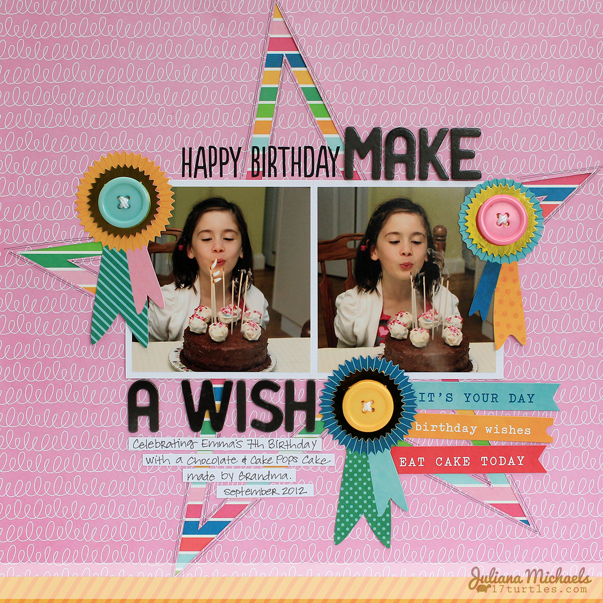 Make A Wish Scrapbook Page by Juliana Michaels for Pebbles Inc using Birthday Wishes