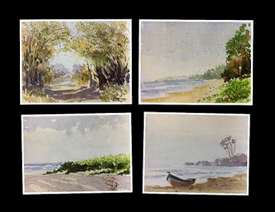 water colour syudy of seascapes and a forest by Manju Panchal