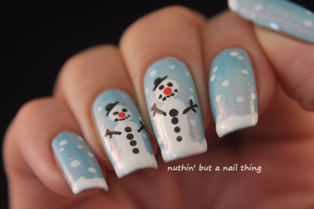 snowman christmas nail art tutorial