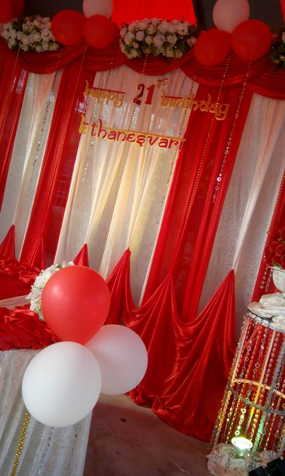 KISHA MEGA EVENTS 21st Birthday Decoration Red White Theme