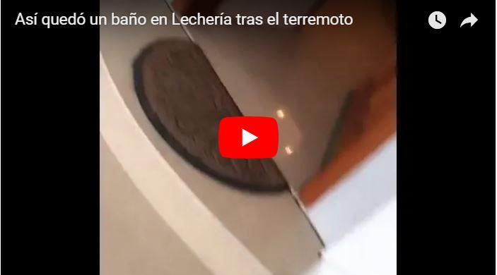 Así quedó un baño en Lechería tras el terremoto