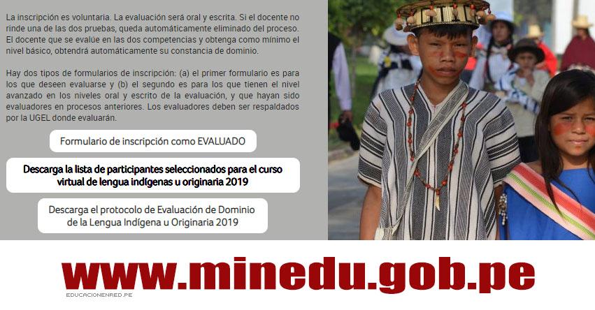MINEDU: Lista de participantes seleccionados para el curso virtual de lengua indígenas u originaria 2019 - www.minedu.gob.pe