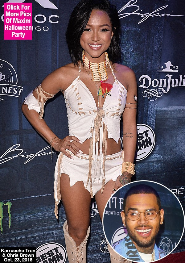 Karrueche Tran Avoids Chris Brown At Halloween Party, Says They Haven't Talked 'In A While'