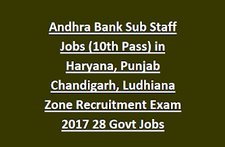 Andhra Bank Sub Staff Jobs (10th Pass) in Haryana, Punjab Chandigarh, Ludhiana Zone Recruitment Exam 2017 28 Govt Jobs