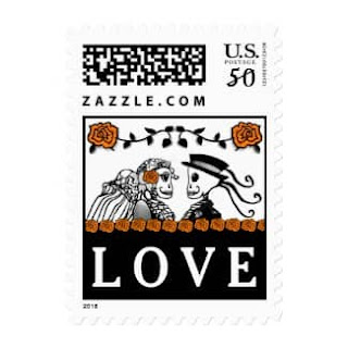 Halloween Wedding Skeletons Custom Postage LOVE Orange Roses Horizontal Small Postage