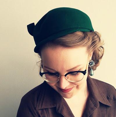 vintage hat and earrings