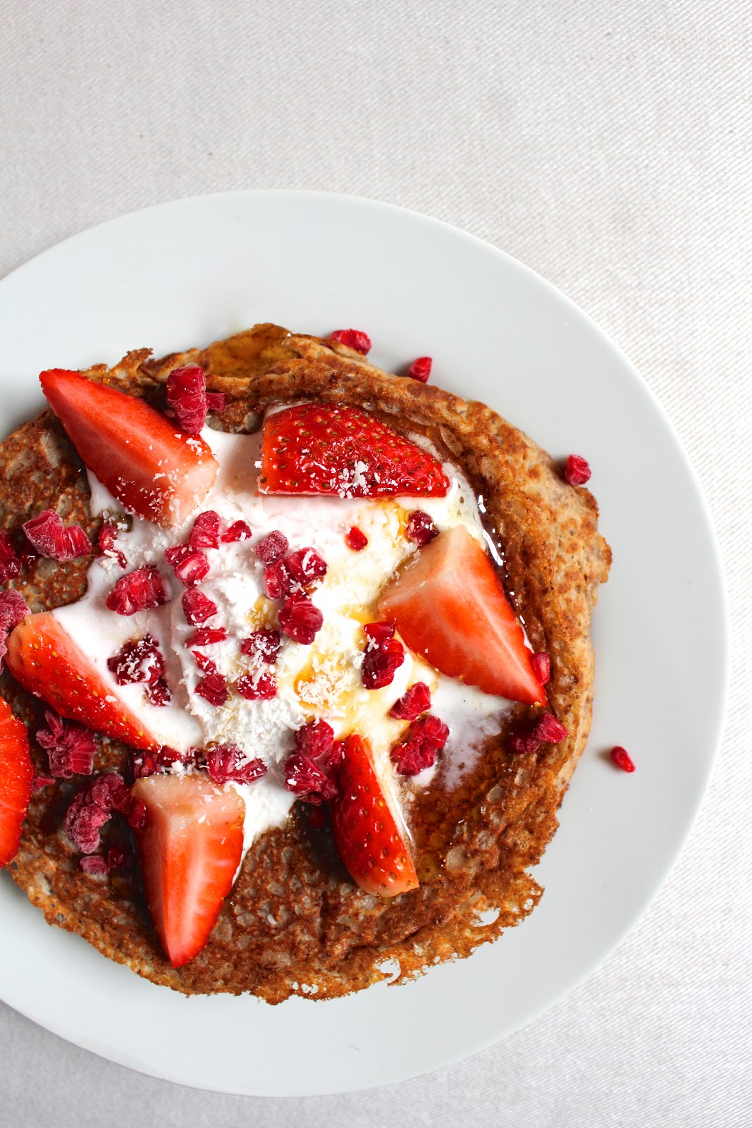 vegan spelt crêpes pancakes with coconut whipped cream