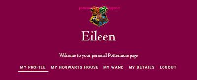 Menù nel profilo di Pottermore in data 09 maggio 2016
