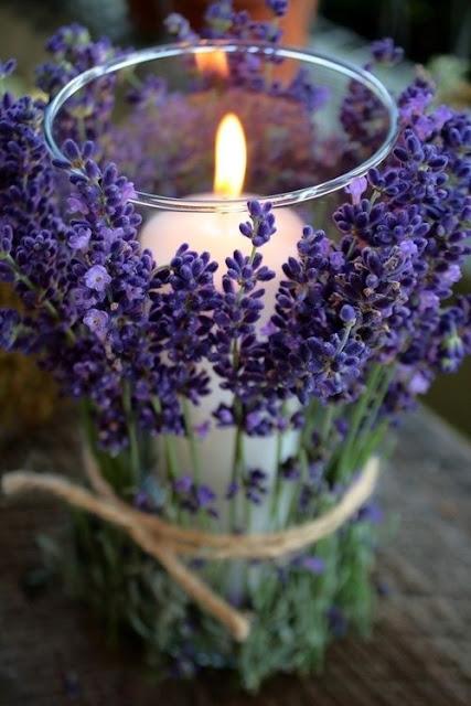 rustic lavender centerpiece