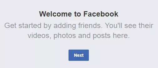 Welcome to Facebook Get Started by adding friends glitch