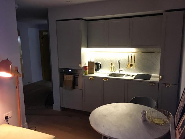 Eden Locke - kitchen area in the studio hotel room