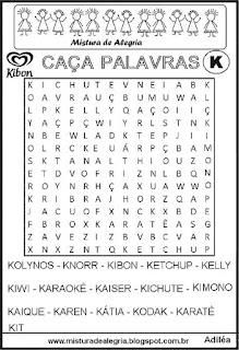 Caça palavras com a letra K