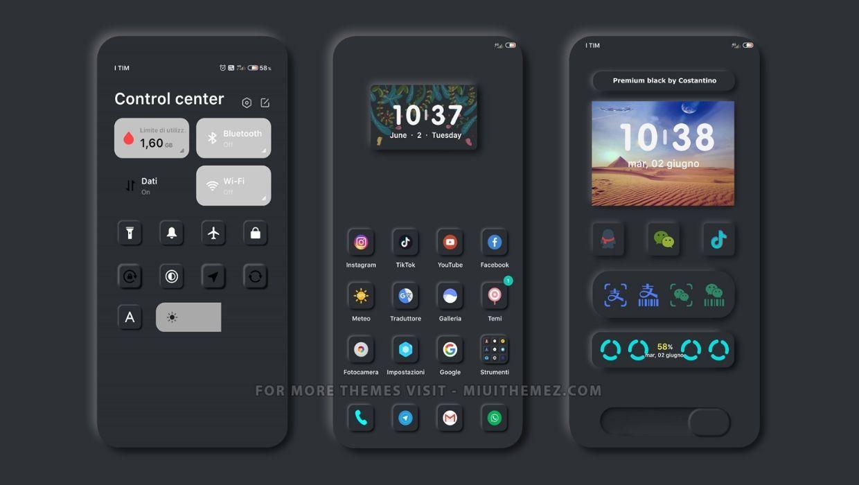 Premium Black 2.0 v12 MIUI 12 Theme