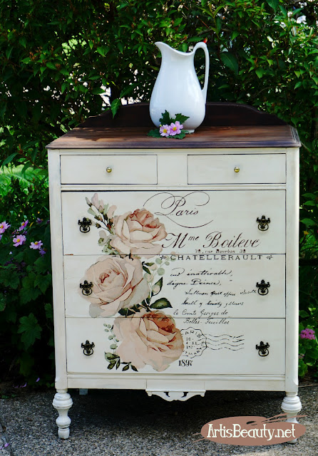 Mme Boileve Vintage inspired color transfer french dresser makeover diy