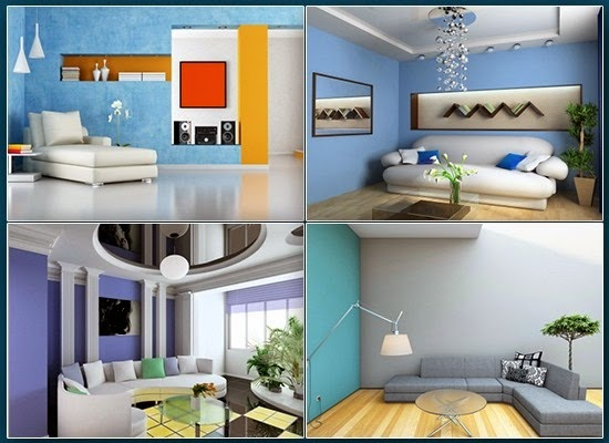Blue colored interiors