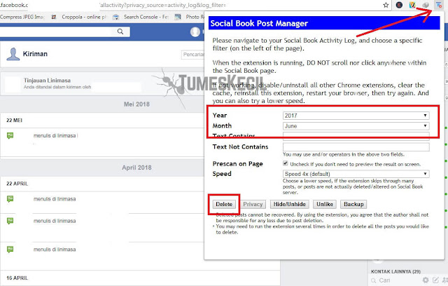 cara menghapus semua kiriman di facebook lewat hp