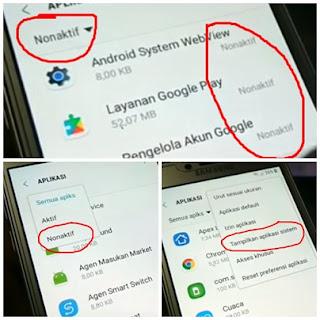 Kemudian kamu Aktipkan Kembali Aplikasi Android System WebViewLayanan Google PlayPengelola Akun Google