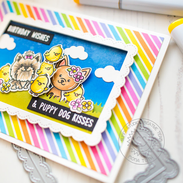 Sunny Studio Stamps: Puppy Dog Kisses Chubby Bunny Fancy Frames Puppy Themed Birthday Card by Mona Toth