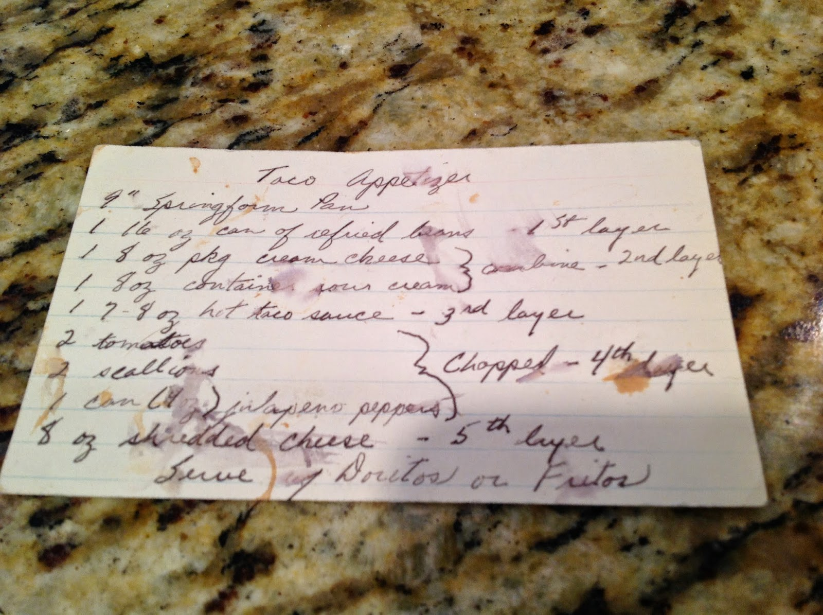 old recipe card with taco recipe