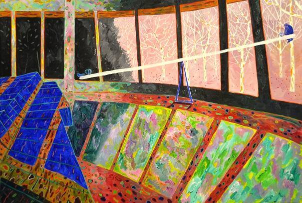 "by Xi Zhang, ""Seesaw"" - Acrylic on Canvas, 2017   obras de arte, pinturas, cuadros, imagenes chidas, tristes, bellas, cool art pictures"