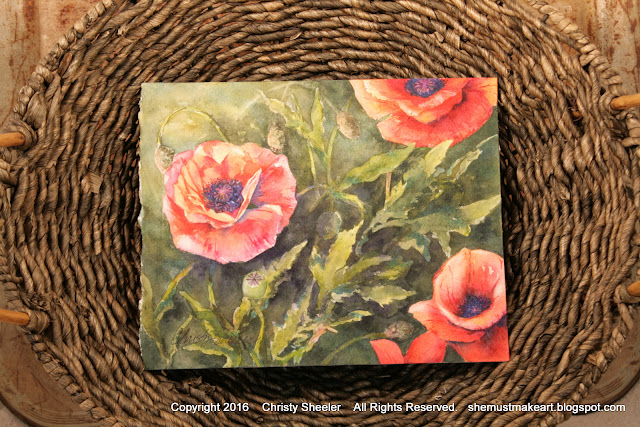 watercolor painting Dancing Poppies in decorative display basket view