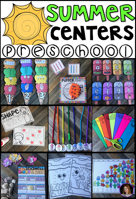 Are you looking for fun and simple thematic centers that you can prep quickly for your preschool classroom? Preschool Summer Centers was created for children ages 4-6 and mature 3 year-olds (looking for a challenge). These centers are sure to keep their interest and will help build important literacy, math and writing (fine-motor) skills. This unit is also great review and practice for children leaving preschool and heading to kindergarten. There are a lot of opportunities to practice extra alphabet and number practice.