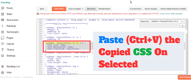 Paste the copied CSS to Selected CSS into Blogger
