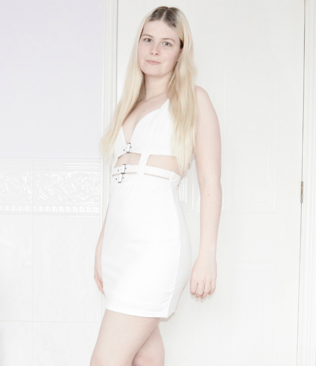 White Buckle Cut Out Dress