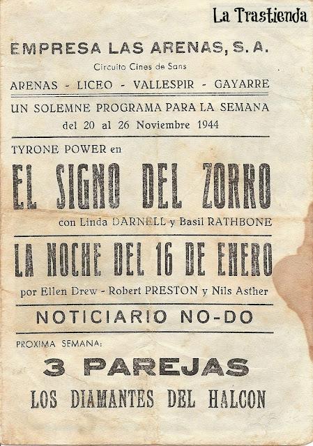 Programa de Cine - El Signo del Zorro (Doble) - Tyrone Power - Linda Darnell