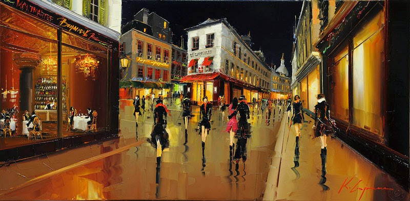 26-Montmartre-Night-life-Kal-Gajoum-Paintings-of-Dream-Like Cities-of-the-World-www-designstack-co